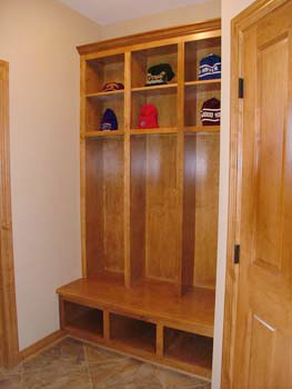 Built-in entry bench with cubbies