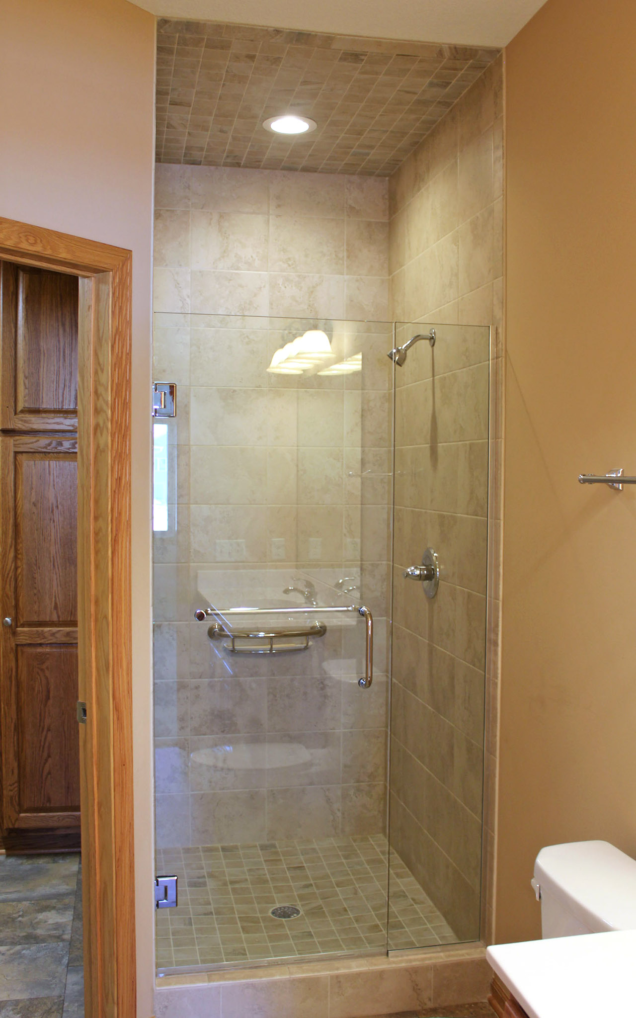 Tall shower with glass door