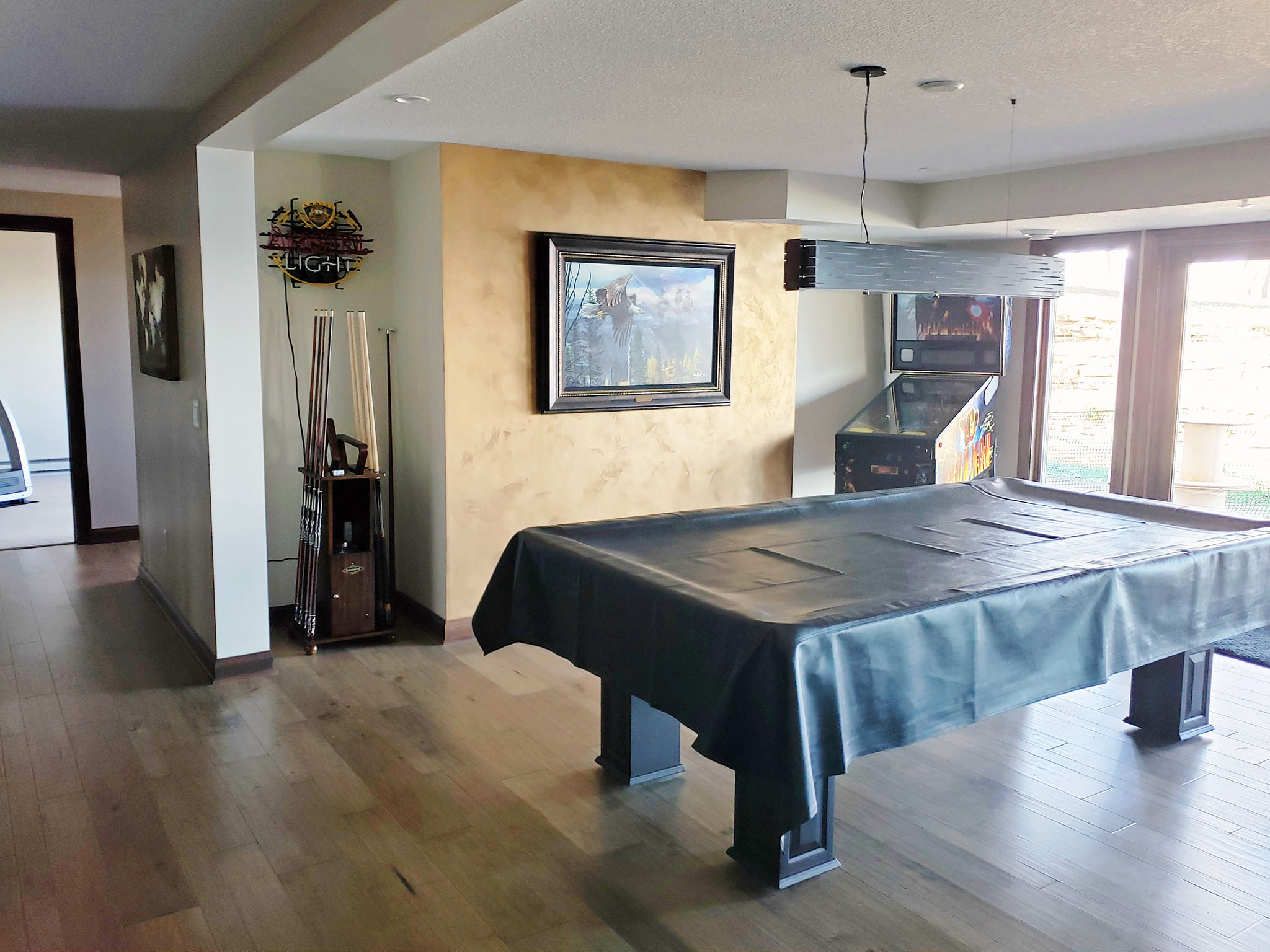 Basement game room featuring faux finish wall and wood plank flooring