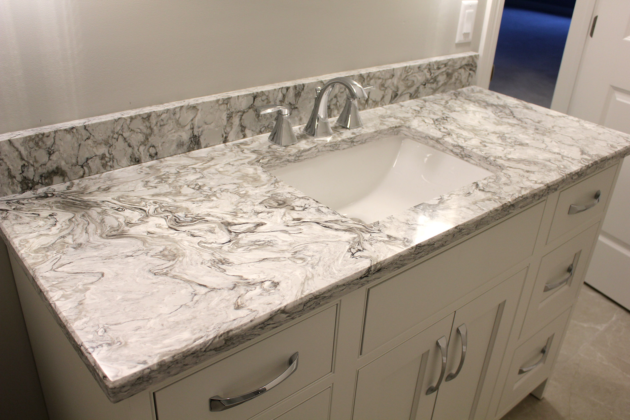 Powder bath vanity with granite countertop and square undermount sink