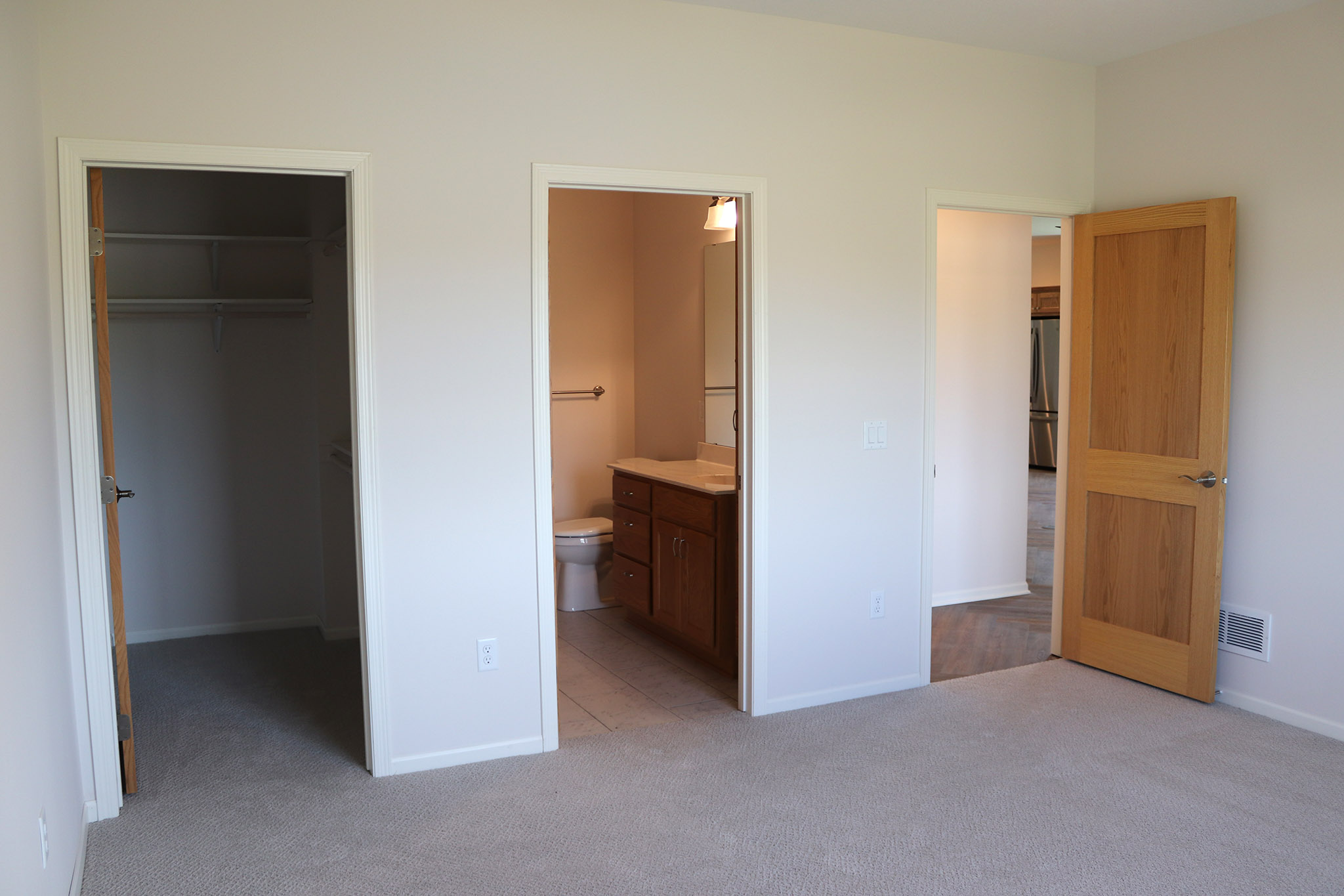 Twin home bedroom with bath and walk-in closet