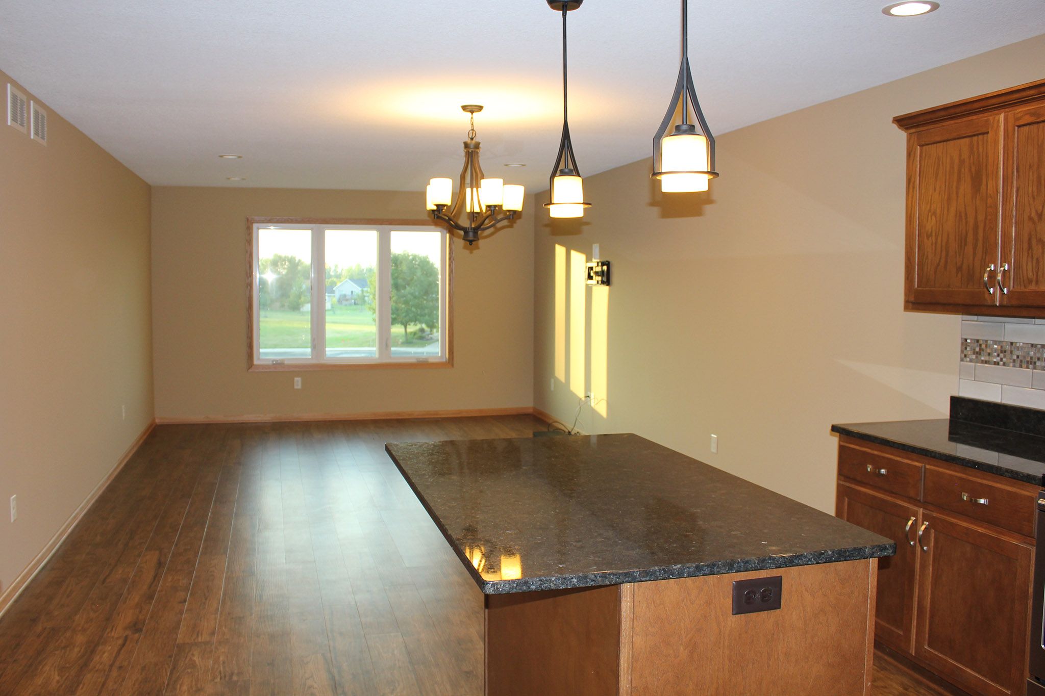 Kitchen island and living room